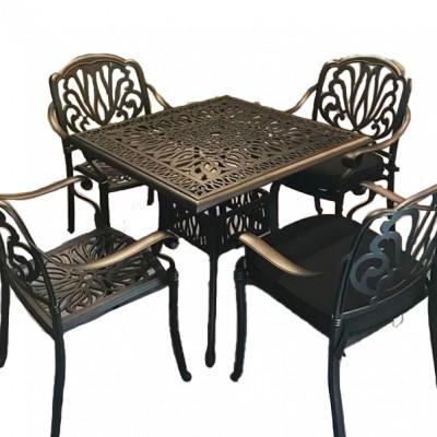 Bộ bàn ghế nhôm đúc ngoài trời hình vuông